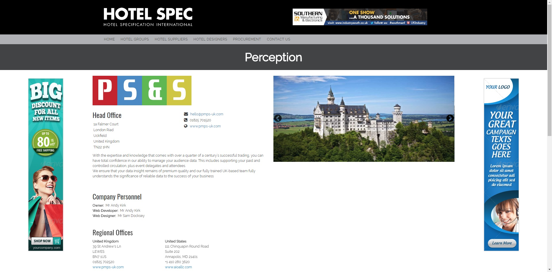 Hotel Spec Online Company Page